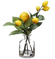 "10"" Faux Lemon Branch in Glass Vase"