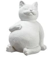 "9"" White Resting Cat"