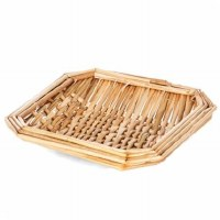 """6"""" Square Natural Woven Wheat Straw Tray"""