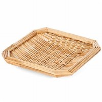 "8"" Square Natural Woven Wheat Straw Tray"