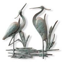 """25"""" Verdigris Double Heron Metal Wall Plaque"""