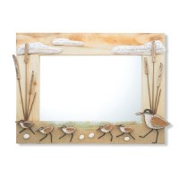 "18"" x 24"" Recycled Wood and Driftwood Sandpiper Mirror"