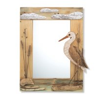 "24"" x 19"" Recycled Wood and Driftwood Heron Mirror"