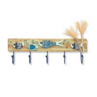 "24"" Blue Reef Fish Wood Plaque With Five Hooks"