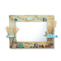 "18"" x 24"" Recycled Wood and Driftwood Blue Reef Fish Mirror"