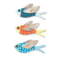 "7"" Recycled Wood and Driftwood Flying Fish Wall Plaque"