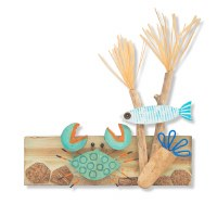"12"" Recycled Wood and Driftwood Crab and Fish Reef Wall Plaque"