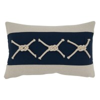 """12"""" x 20"""" White and Navy Rope Accented Pillow"""