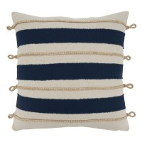 """18"""" Square White and Navy Striped Rope Pillow"""