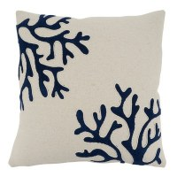 """18"""" Square White With Navy Coral Pillow"""