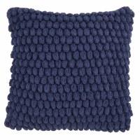 "20"" Square Navy Crochet Pom Pom Pillow"
