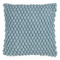 """20"""" Square Aqua Crochet Pom Pom Pillow"""