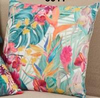 "18"" Square Multicolor Tropical Floral Pillow"