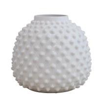 "13"" White Ceramic Dotted Pot"