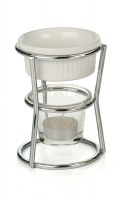 """Set of 2 5"""" Butter Warmers With Tea Lights and Stands"""