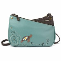 "8"" Teal Turtle Criss Crossbody Purse"