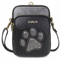 "8"" Black Pawprint Uni Cellphone Crossbody"