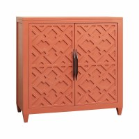 "36"" Coral Geometric Patterned 2-Door Cabinet"