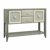"49"" Green and Cream 2-Door 2-Drawer Console Table"