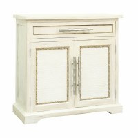 """34"""" Antique White 2-Door Cabinet With Drawer"""