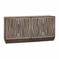 "72"" Mahogany and Pewter Accented 4-Door Credenza"