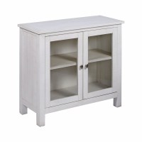 "36"" Antique White Cabinet With Twq Glass Doors"