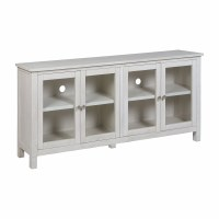 "72"" Antique White Credenza With Four Glass Doors"