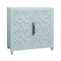 "36"" Aqua Marine Geometric Patterned 2-Door Cabinet"
