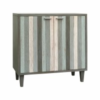 "34"" Gray Green Striped Coastal 2-Door Cabinet"