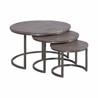 """Set of 3 30"""" Round Brown and Bronze Nesting Tables"""