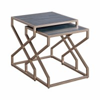 """Set of 2 20"""" Square Wood and Metal """"X"""" Nesting Tables"""