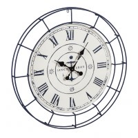 """32"""" Round Blue and White Nautical Anchor Wall Clock"""