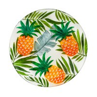 """18"""" Round Hand Painted Pineapples Glass Bowl"""