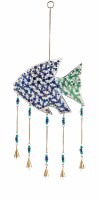 "27"" Blue and Green Mosaic Fish Bell Chime"