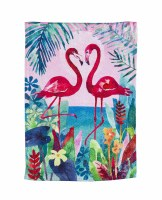 "18"" x 13"" Floral Framed Flamingos Suede Flag"
