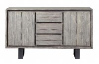 "58"" Weathered Gray 3 Drawer 2 Door Credenza"