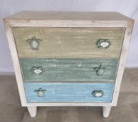 "27"" Blue and Green 3 Drawer Cheat With Sealife Knobs"