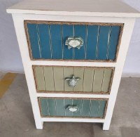 "22"" Blue and Green 3 Drawer Chest With Sealife Knobs"