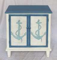 "28"" Antique White and Blue Two Door Cabinet With Anchors"