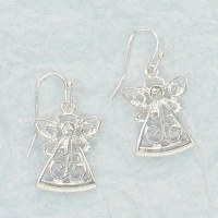 Silver Swirl Angel Earrings