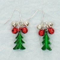 3D Christmas Tree With Red and Silver Bells Earrings