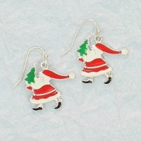 Santa Carrying a Tree Earrings