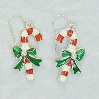 Candy Cane With Green Bow Earrings