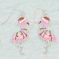 Flamingo Wrapped in Lights Enamel Earrings