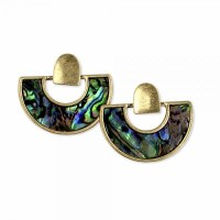 Abalone Inlay Gold Semicircle Earrings