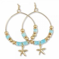 Gold and Blue Beaded Starfish Hoop Earrings