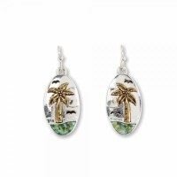 Two-tone Palm Tree With Abalone Inlay Earrings