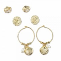 Set of 3 Gold Shell, Sand Dollar, and Scallop With Pearls Earrings