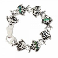 Antique Silver Fish Bracelet With Abalone Inlay and Magnetic Clasp