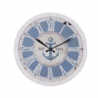 """24"""" Round White and Blue Anchor 1921 Wall Clock"""